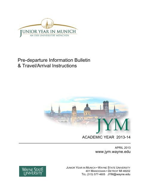 table of contents - Junior Year in Munich - Wayne State