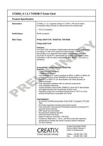CTX953 V.1.3.1 Tv/Dvb-T-Tuner Card - CREATIX