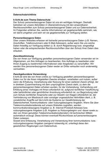 PDF-Druckversion Datenschutz - k-licht