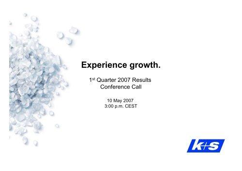 Conference Call 10.05.2007 - K+S Aktiengesellschaft
