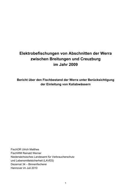 Elektrobefischungen von Abschnitten der Werra zwischen ...