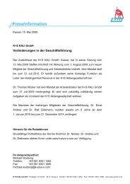 Presseinformation 2009 - K+S Aktiengesellschaft