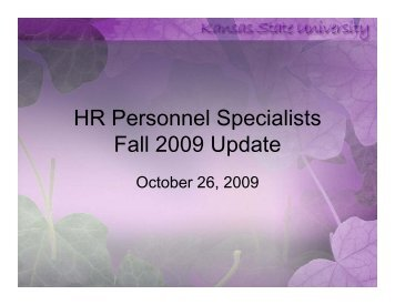 Personnel Specialist Meeting Slideshow - Kansas State University