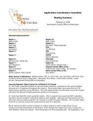 Meeting Summary - California K-12 High Speed Network