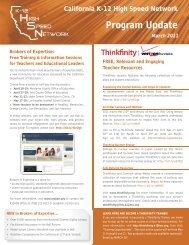 Program Update (March 2011) - California K-12 High Speed Network