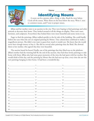 Abstract and Concrete Nouns | Noun Worksheets | K12reader.com