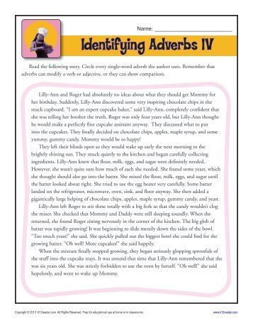 Identifying Adverbs Worksheets