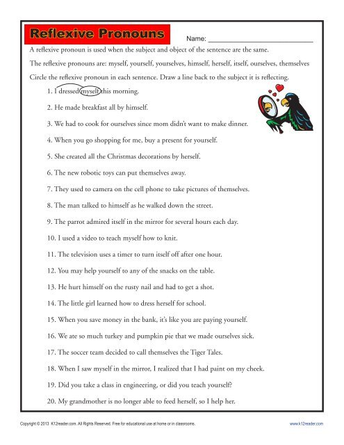 Reflexive Pronouns Pronoun Worksheets