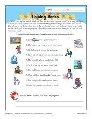 Helping Verb Worksheet | Grammar Worksheets from K12reader.com