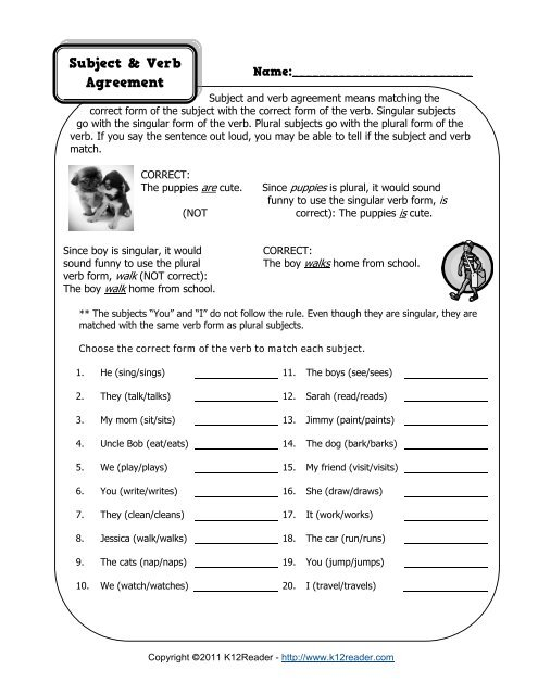 Subject and Verb Agreement Worksheet | Grammar Worksheets ...