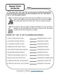 Misused Verbs - Sit Sat Set Worksheet | Grammar Worksheets from ...