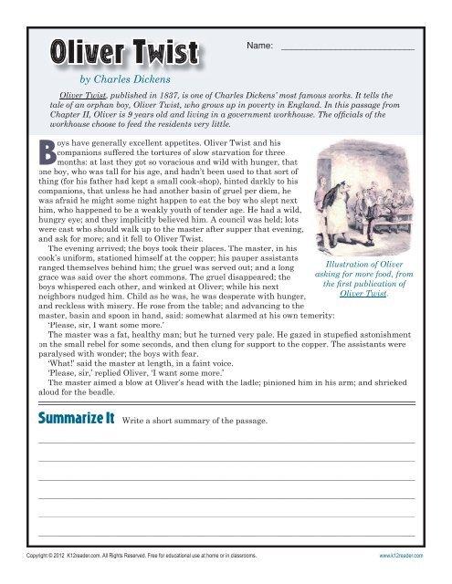 Oliver Twist 7th Grade Reading Comprehension Worksheet