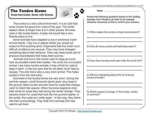 Cross Curricular Reading Comprehension Worksheets C 11 Of 36