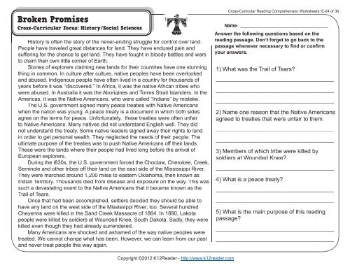 Cross Curricular Reading Comprehension Worksheets E 24 Of 36