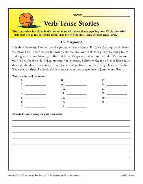 Verb Tense Story Worksheet Grammar Worksheets From K12reader