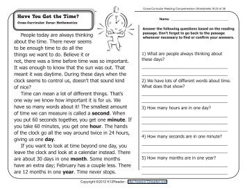 Cross-Curricular Reading Comprehension Worksheets: E-27 of 36