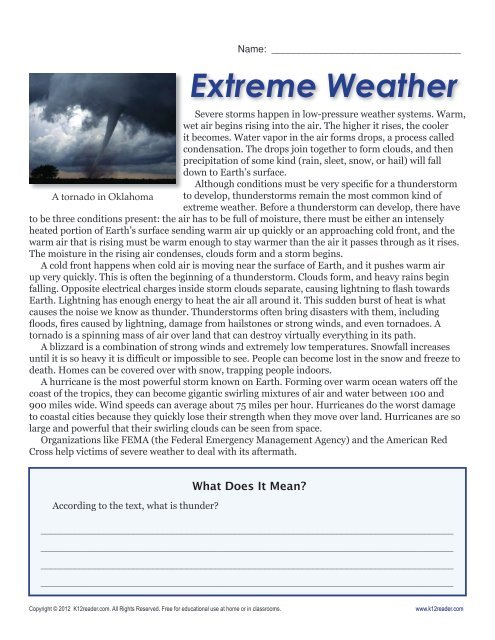 6th Grade Reading Comprehension Worksheets | Extreme Weather