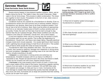 Cross-Curricular Reading Comprehension Worksheets: C-22 of 36