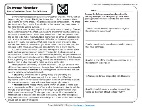 Cross-Curricular Reading Comprehension Worksheets: E-33 of 36