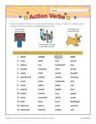 Action Verb Worksheet | Grammar Worksheets from K12Reader.com