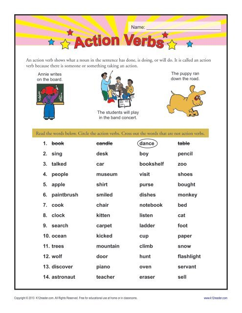 Action Verb Worksheet Grammar Worksheets From K12reader Com