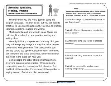 Worksheets Reading Comprehension Worksheets For 6th Grade 6th grade reading comprehension worksheets 2nd second grade