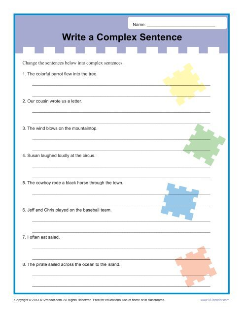 write a complex sentence sentence structure worksheets