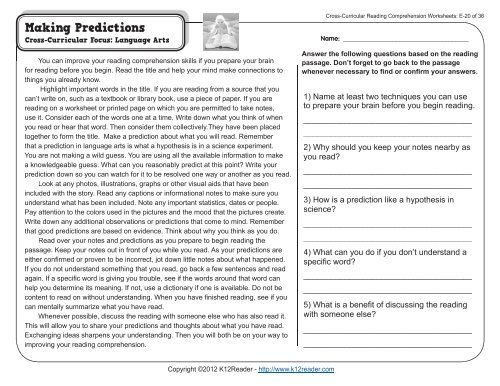 5th Grade Reading Comprehension Worksheets | Fifth Grade ...