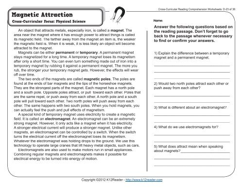 Cross Curricular Reading Comprehension Worksheets D 23 Of 36
