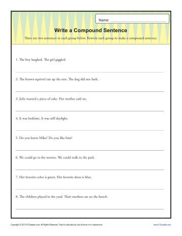 Grammar 2 worksheet directions rewrite the following sentences write a compund sentence sentence structure worksheets ccuart