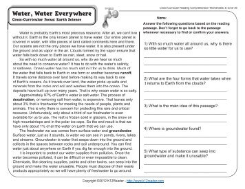 Cross curricular reading comprehension worksheets e 4 of 36