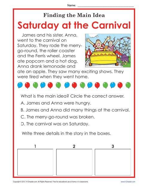 Main Idea Worksheets Saturday At The Carnival