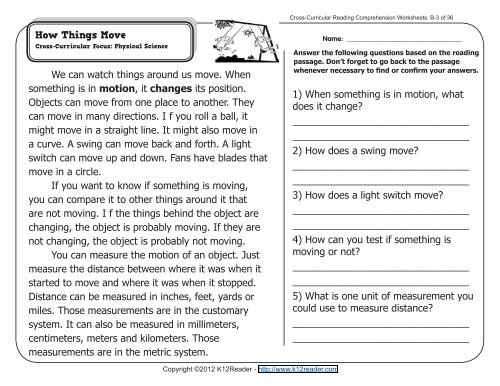 Cross-Curricular Reading Comprehension Worksheets: B-3 of 36