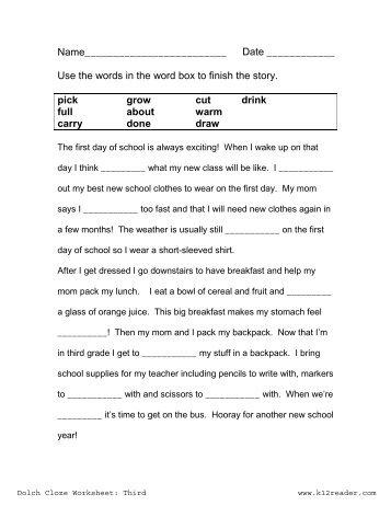 Summer Vacation CLOZE Reading #3 - Cloze Test - Quickworksheets.net