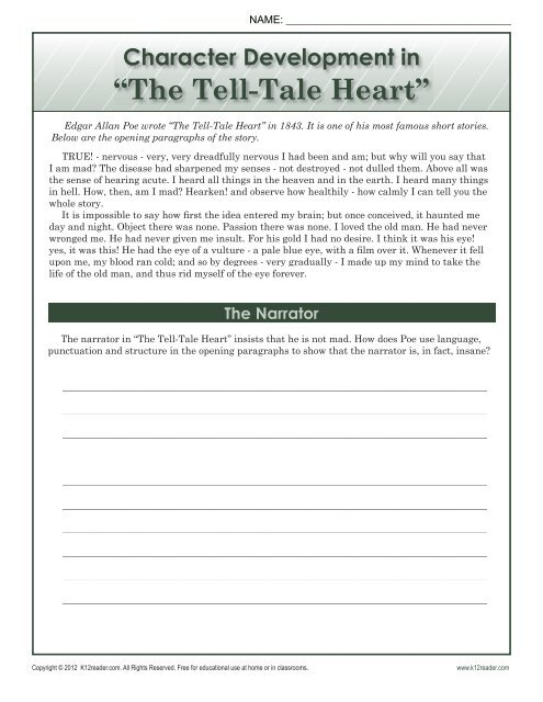 The Tell-Tale Heart | 8th Grade Reading Comprehension Worksheets