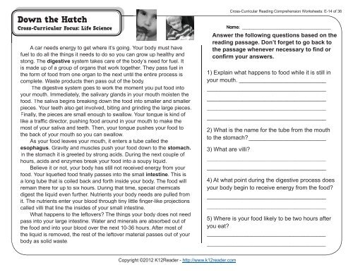 Cross-Curricular Reading Comprehension Worksheets: E-14 of 36