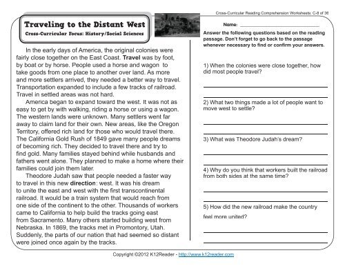Cross Curricular Reading Comprehension Worksheets C 8 Of 36