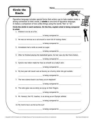 Figurative language review worksheet pdf