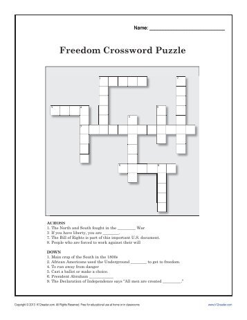 photo about Black History Crossword Puzzle Printable titled 380 absolutely free Publications versus K12READER.COM