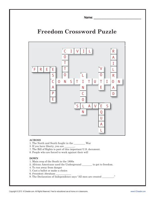 image regarding Black History Crossword Puzzle Printable titled Reputation: