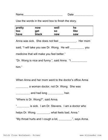 first grade cloze worksheets first best free printable worksheets. Black Bedroom Furniture Sets. Home Design Ideas