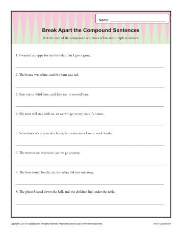 Phonics Worksheets 3rd Grade Excel Writing Complex Sentences  Sentence Structure Worksheets First Grade Adjectives Worksheet Pdf with Numbers Writing Worksheet Excel Break Apart The Compound Sentence  Sentence Structure Worksheets Reflection Transformation Worksheet Excel