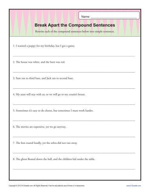 break apart the compound sentence sentence structure worksheets
