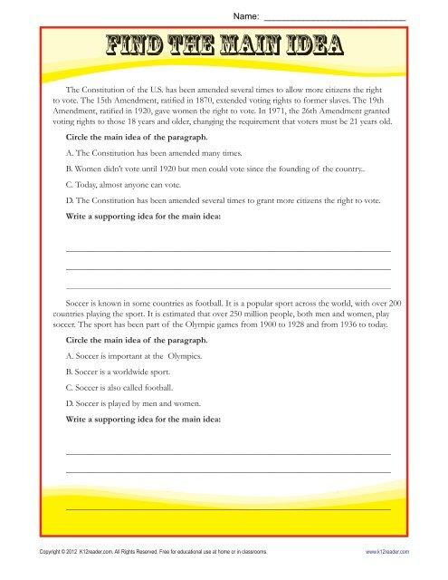 Main Idea Worksheets Find The Main Idea