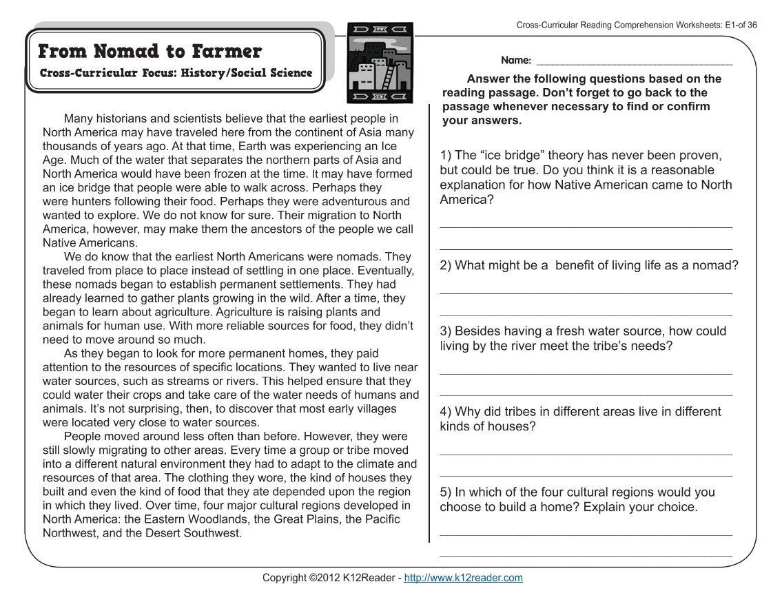 Worksheets Comprehension Worksheets For 5th Grade worksheet cross curricular reading comprehension worksheets 5th grade fifth