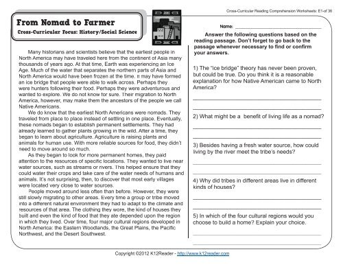 Cross Curricular Reading Comprehension Worksheets E1 Of 36
