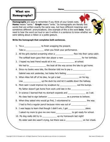 Identify The Homographs Homograph Worksheets