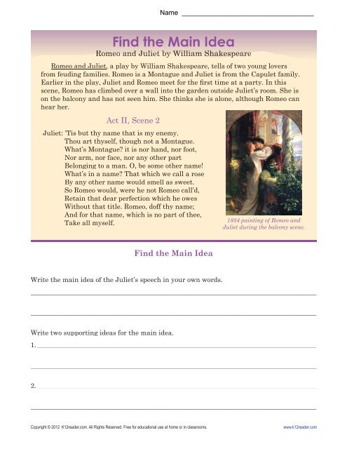 Main Idea Worksheets Romeo And Juliet