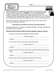 What is a Metaphor | Figurative Language Worksheets