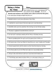 Grammar Worksheet - Using Colon for Time | K12reader.com